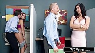 Stepmom catches her stepdaughter fucking a co-w...