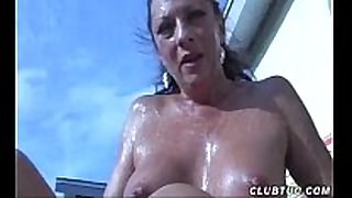 Naked older white BBC slut cook jerking