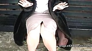 English milf persuaded to flash outdoors