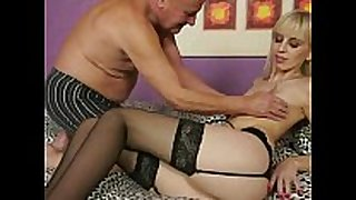 Grandpa fucking youthful golden-haired BBC slut