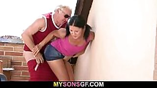 Gf lets her bf's daddy poke her wet pink