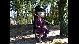 Granny acquires a lesson from masked dude