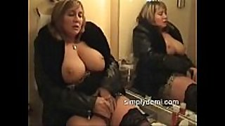 Busty sexually concupiscent white white bitch in nylons masturbating in this ho...
