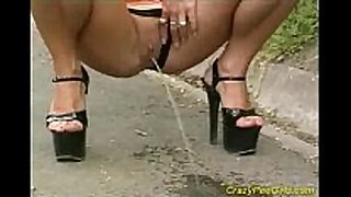 Big milk cans babe public pissing