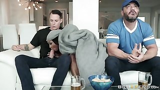 Big breasted mature fucks her stepson on the couch