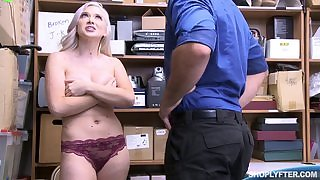 Naughty blonde girl with big natural tits forced to fuck in the office