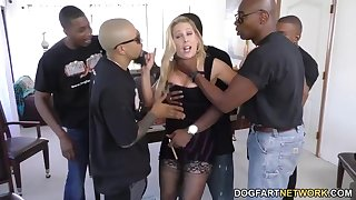 Whorish pornstars handles five big black cocks at once
